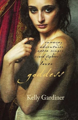 cover of Goddess - painted nude woman, turned to the side, arms over her breasts. she is looking straight at you