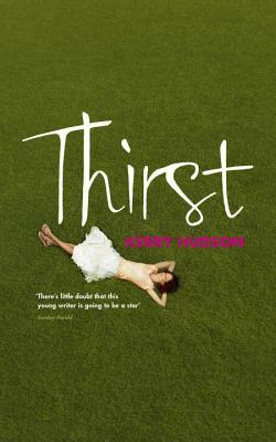 Thirst cover - handwriting style font, woman in dress lying on grass, shot from above